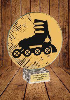 Trofeo de cristal para Patinaje  linea