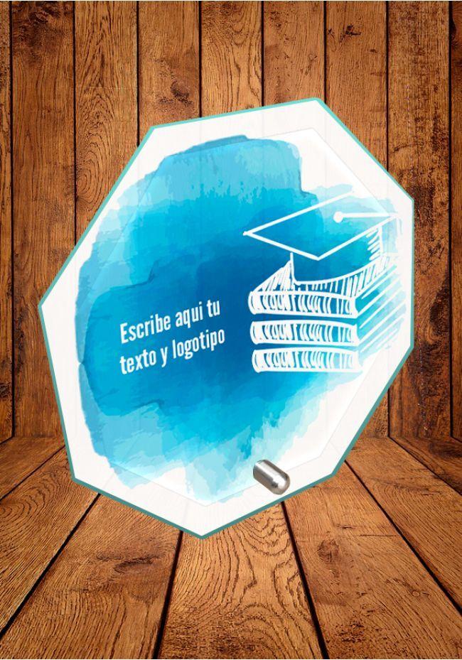 Trofeo de cristal Académico con soporte metálico