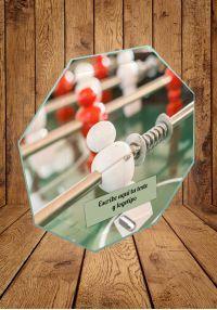 Trophée de verre pour baby-foot avec support métallique