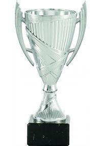 Copa con forma de cono en color plata y asas