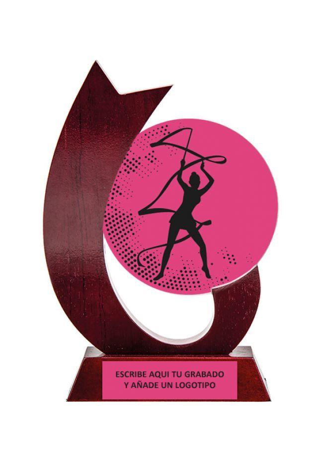 Trofeo con circulo de cristal de gimnasia rítmica