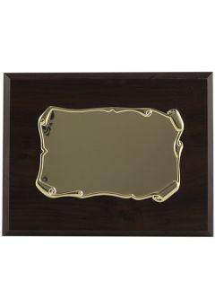 Placa de homenaje forma pergamino enrollado dorado soporte nogal-1