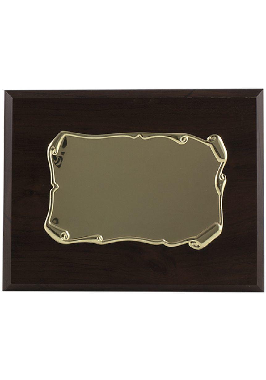 Placa de homenaje forma pergamino enrollado dorado soporte nogal