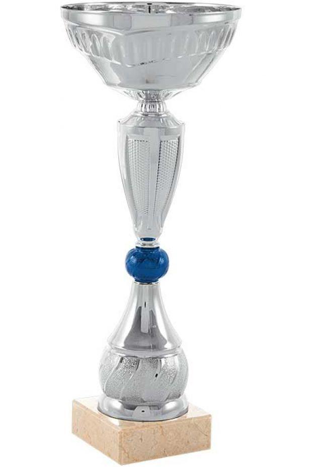 Trofeo cáliz con bola central azul