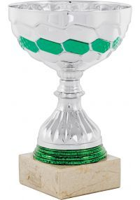 Silver and green ribbon trophy