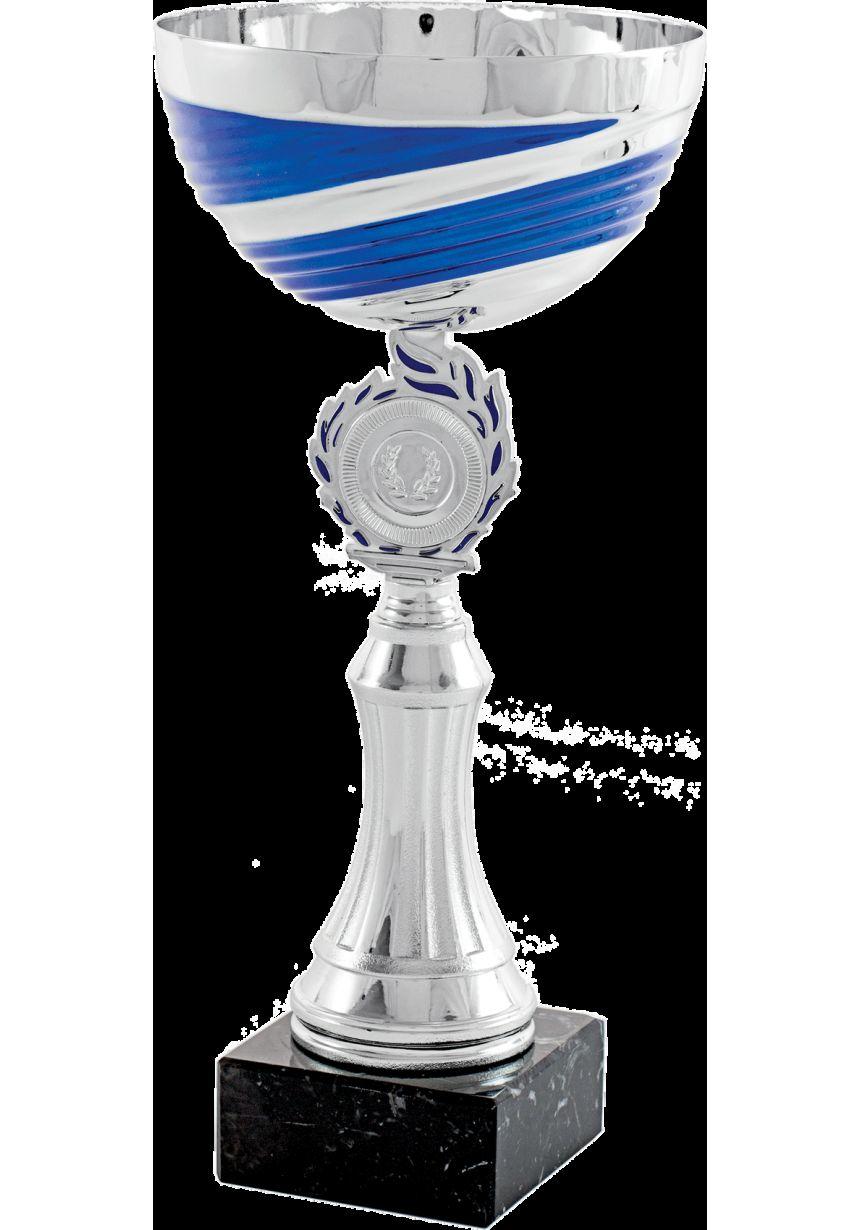 Coupe trophée abstrait disques argent-bleus