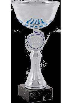 trofeo copa abstracta plata azul portadiscos 10