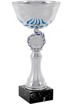 Trofeo copa abstracta plata-azul portadiscos