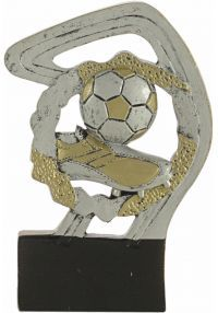 Sports trophy in gold/silver football resin