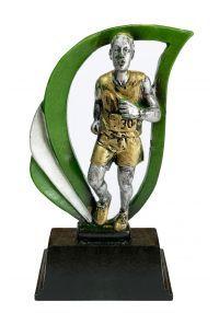 Trofeo deportivo de 12cm en color plata/verde