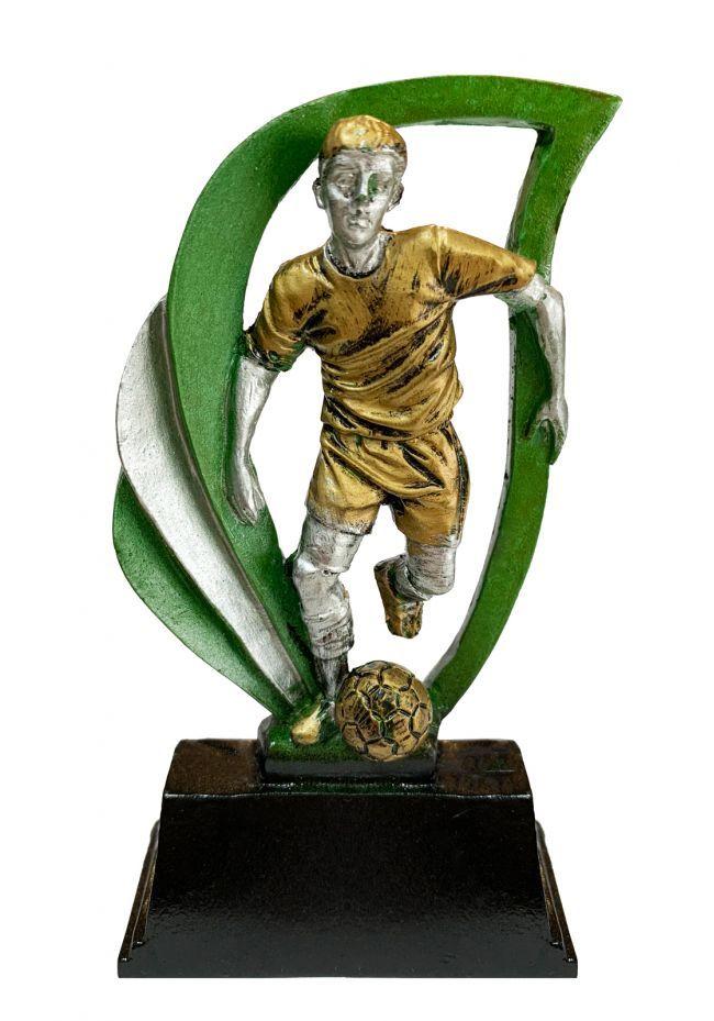 Trofeo deportivo de FÚTBOL en color plata/verde