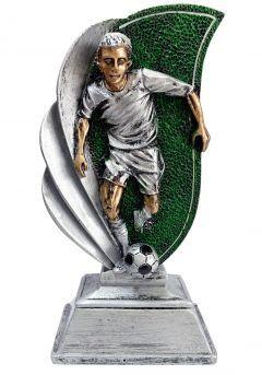 Trofeo deportivo de FÚTBOL con figura futbolista