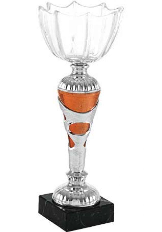 Trofeo en flor con copa de cristal