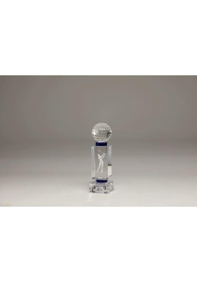 Trofeo cristal 3D Jugador Golf Masculino y pelota