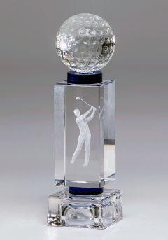 Trofeo cristal 3D Jugador Golf Masculino y pelota Thumb