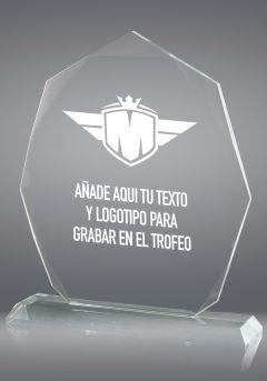 trofeo de cristal forma heptagonal