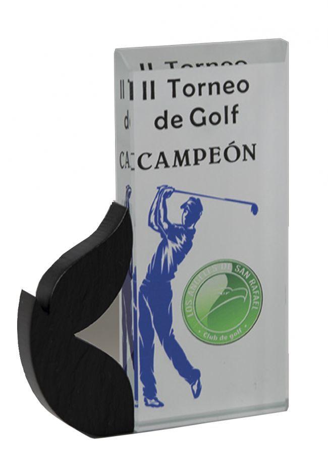 Trofeo de cristal rectangular laurel