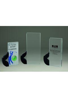 Trofeo de cristal rectangular laurel Thumb