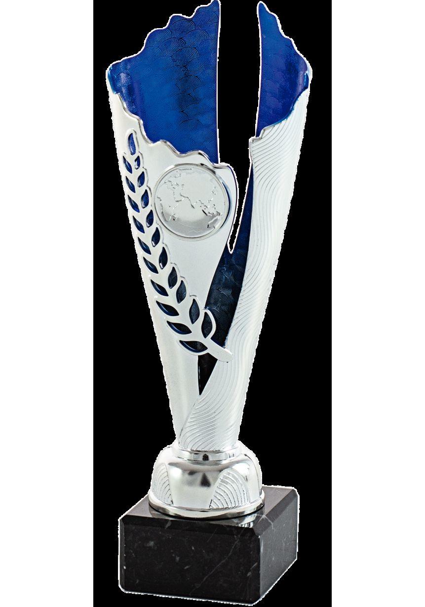 Trofeo plateada/azul portadisco central onda