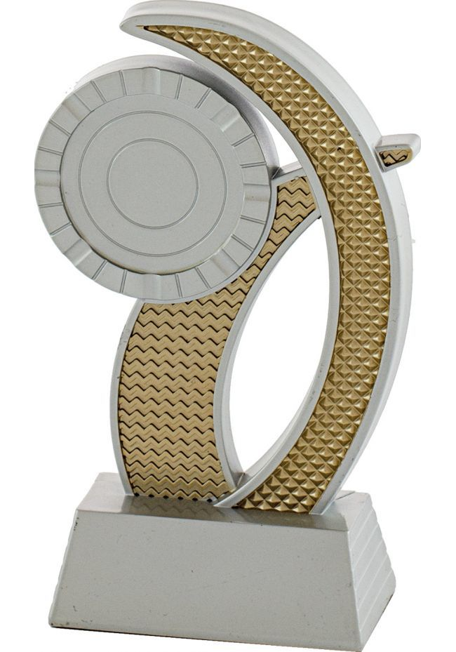 Trofeo portadisco onda resina plata