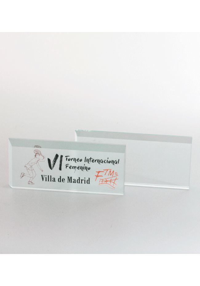 Trofeo de cristal prisma rectangular biselado