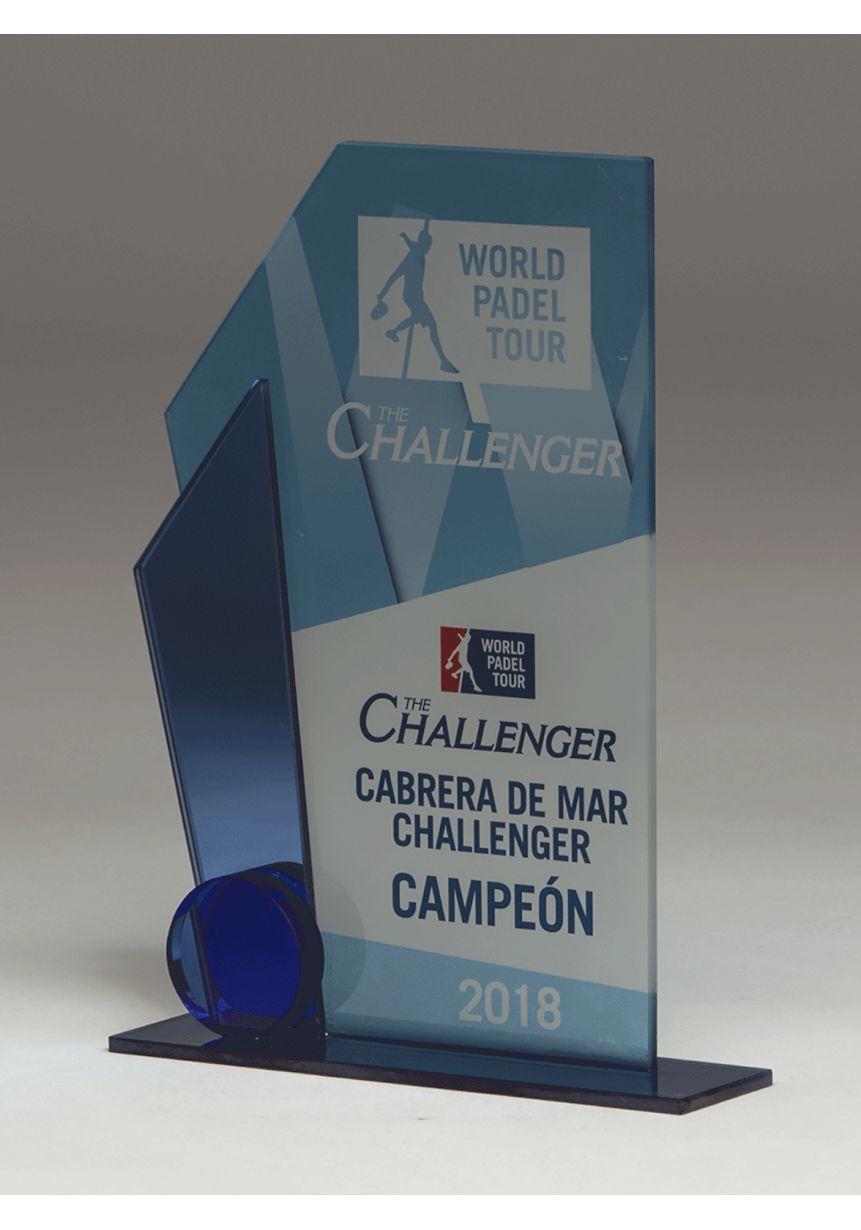 Trofeo Doble Trapecio Cristal Color Vela