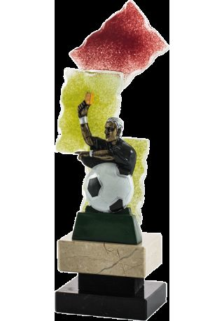Referee trophy yellow card glass background