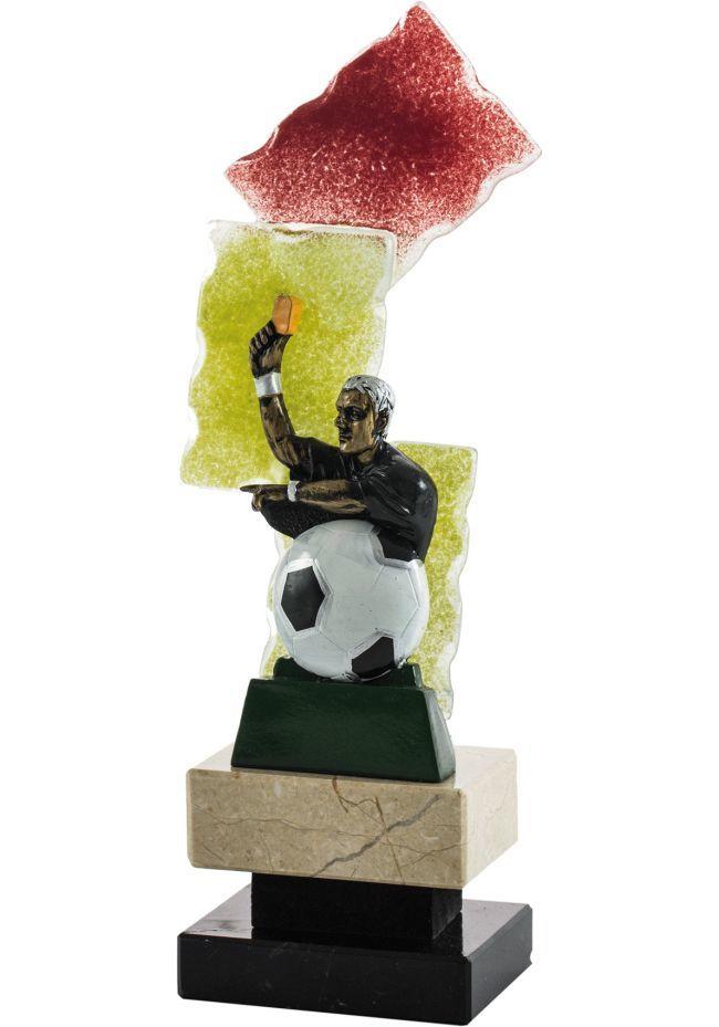Trofeo de arbitro tarjeta amarilla fondo cristal