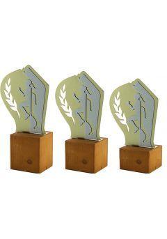 Trofeo de Cross en Metal/Madera Mujer Thumb
