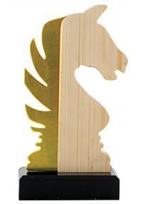 Trofeo de Ajedrez en metal/madera