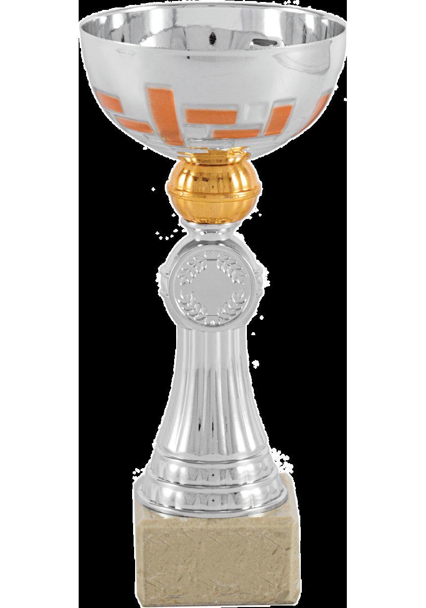 Trofeo copa abstracta plata-naranja portadiscos