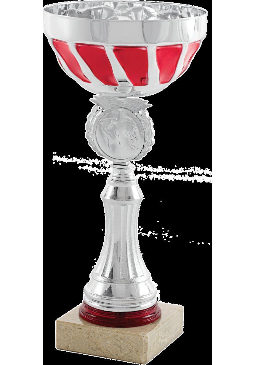 Trofeo copa abstracta plata-roja portadiscos