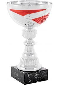 Trophy cup silver-red abstract cup holder