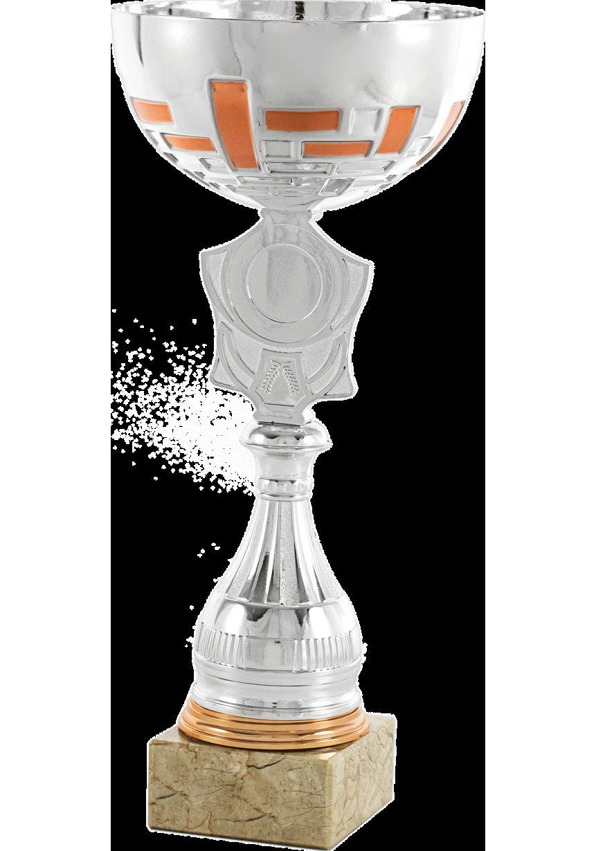 Trofeo copa escudo plata-naranja portadiscos