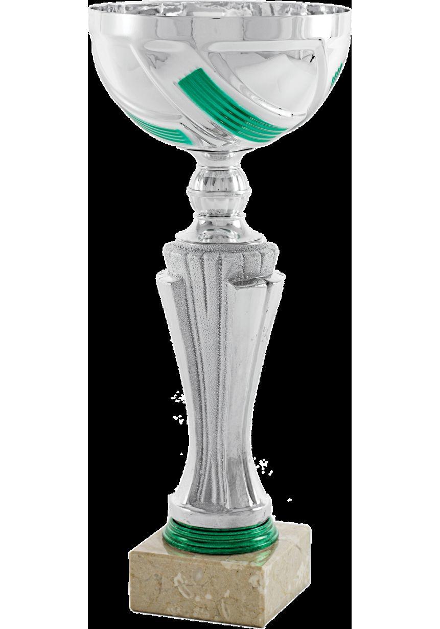 Trofeo copa Plateado Columna Verde