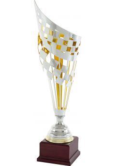 Trofeo copa cono geométrico cuadrado bicolor-1