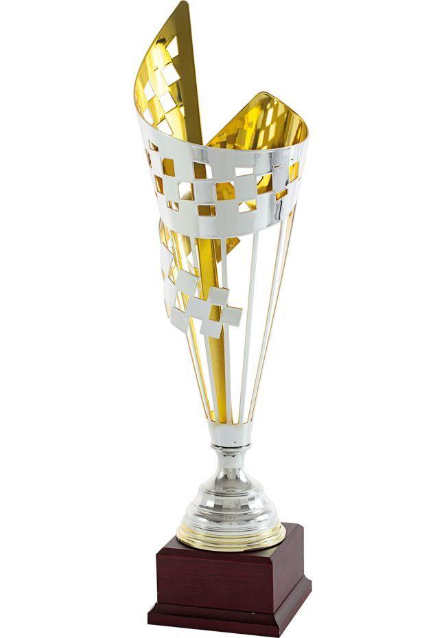Trofeo copa cono geométrico cuadrado bicolor