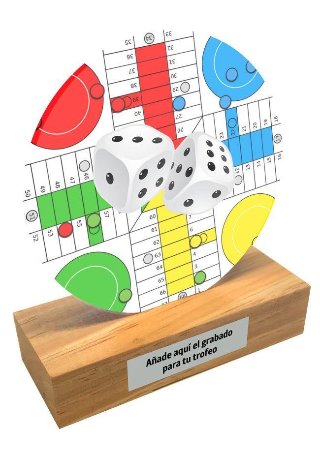 Trofeo de metacrilato y base de madera de Parchis
