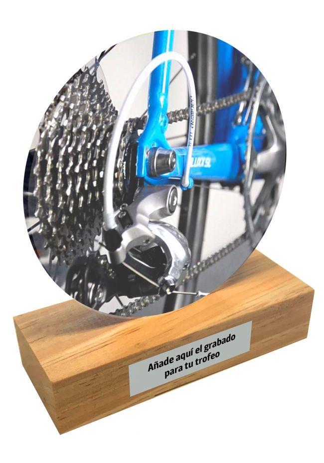 Trofeo de metacrilato y base de madera de Ciclismo