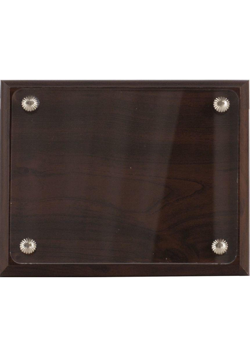 Placa de homenaje de madera y metacrilato