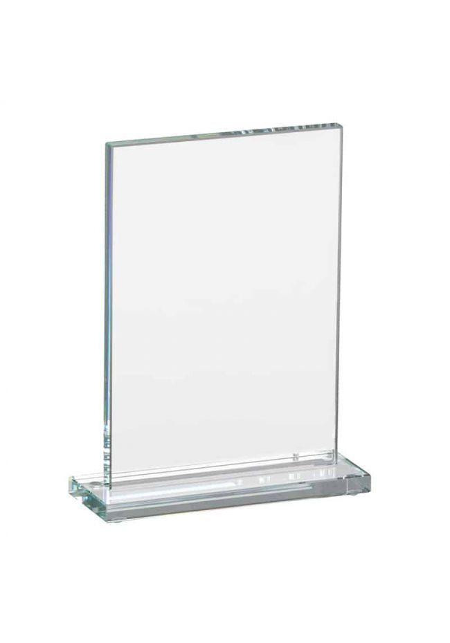 Trofeo de cristal con peana y forma rectangular