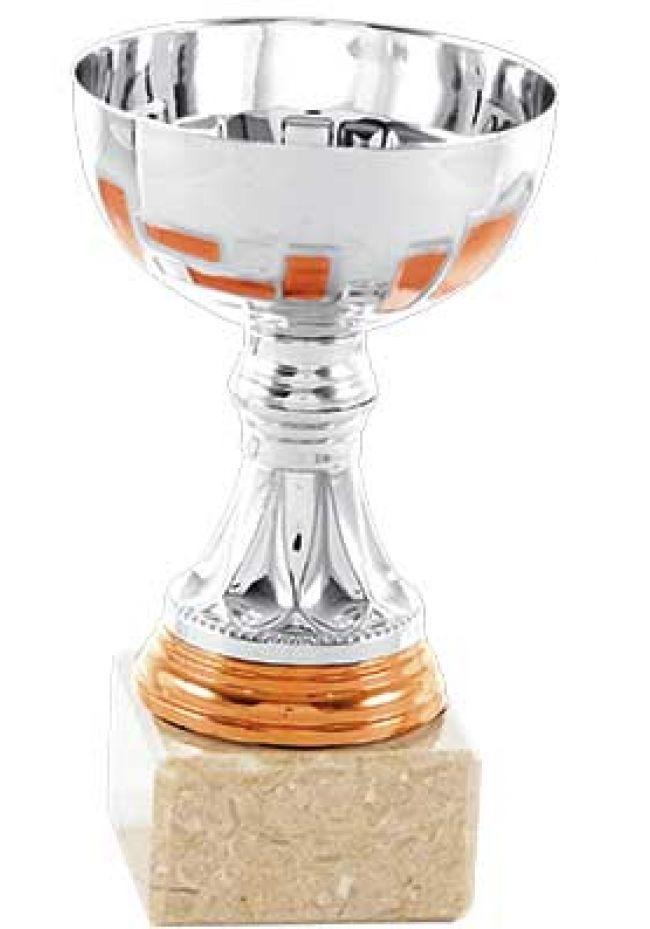 Trofeo mini plateado y cobre