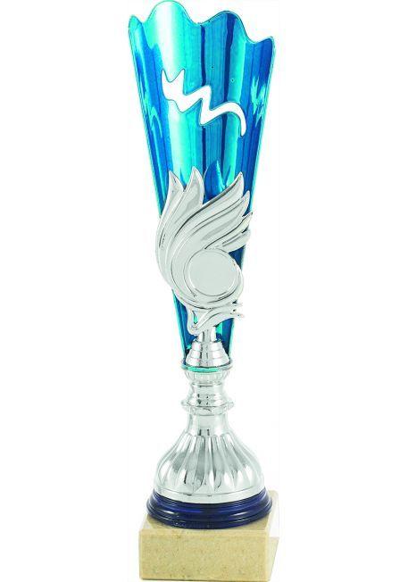Trofeo forma de antorcha azul