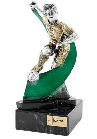 Trofeo de resina futbolista onda