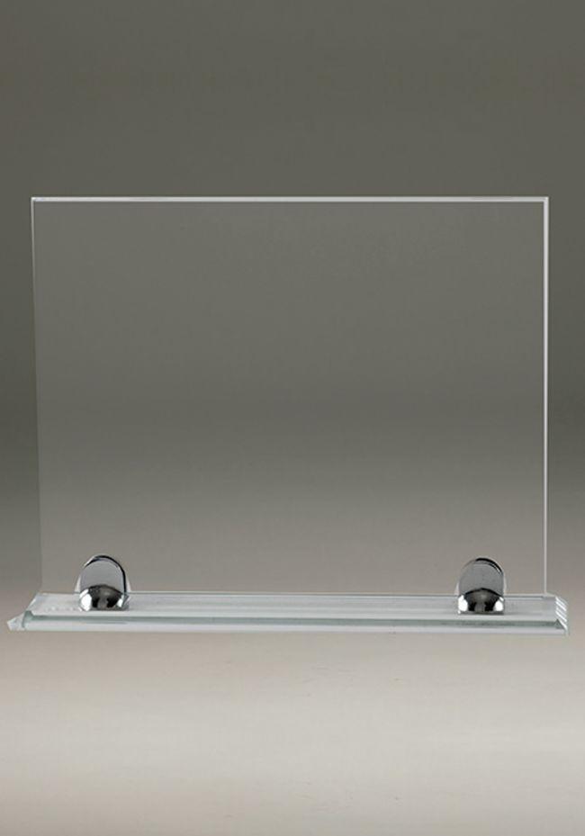 Trofeo de cristal forma rectangular soporte aluminio