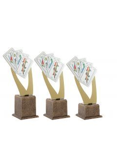 Trofeo Metal Cartas Dorado Thumb