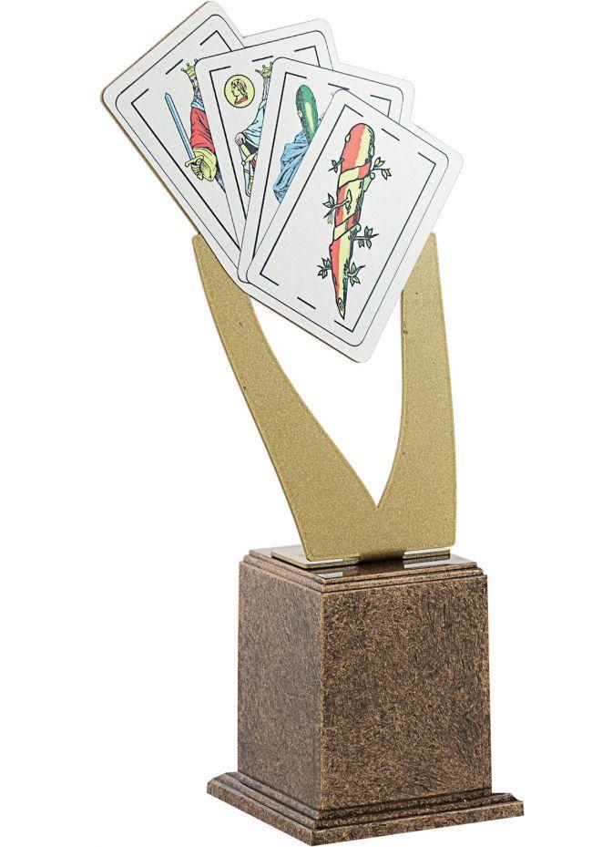 Trofeo Metal Cartas Dorado