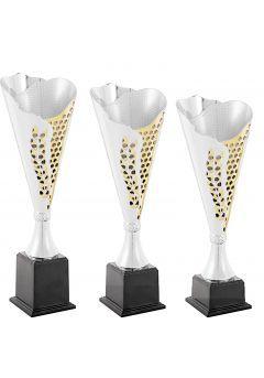Trofeo copa cónica plata Laurel  oro Thumb