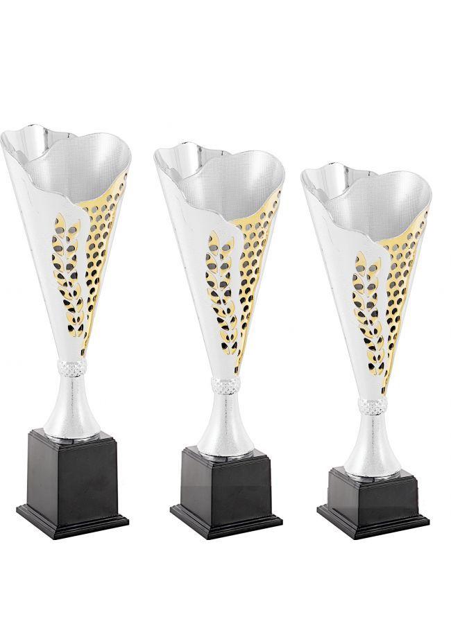 Trofeo copa cónica plata Laurel  oro