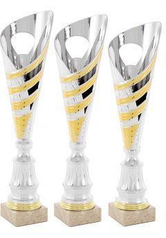 Trofeo copa cónica plata onda oro Thumb